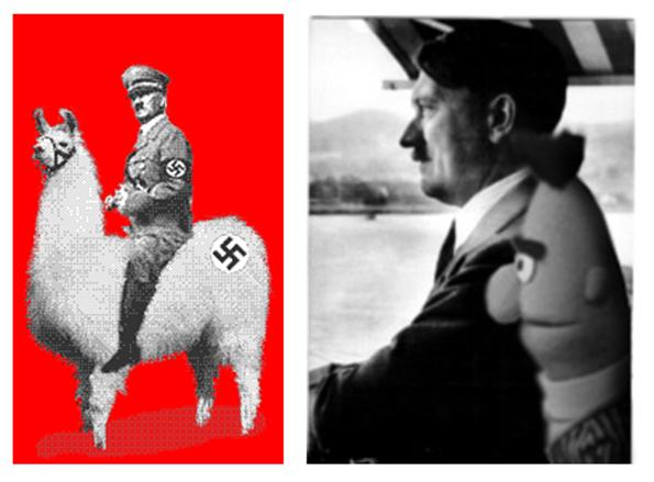 Kuva 9 ja 10. Suosittuja Hitler-meemejä 1990-luvulta.