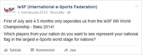 Kuva 4. IeSF:n sivuston seuraajille suuntaama kysymys maiden toivotuista kilpailuedustajista 1.7.2014.