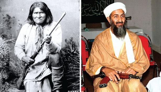 """Kuva 5. """"Bin Laden Ain't No Geronimo"""". Yhdysvaltojen intiaaniväestölle ihaillun apassi-päällikön vertaaminen Osama bin Ladeniin oli"""