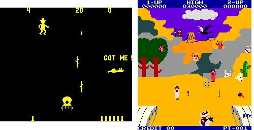 Figure 1: Early Western video games were typically digitizations of previously mechanic cabinets, with dueling and target shooting. Gun Fight (1975) and Wanted (1984).