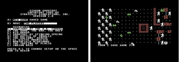 "Figure 10: Sixgun Shootout (1985) on the Commodore 64, with a selection of historical and fictional gunfights. Right: The scenario ""El Siette Magnifico""."