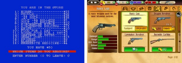 Figure 13: Games provide plenty of Western equipment to choose from. Wild Bunch and Six Guns.