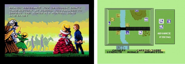Figure 3. Rewriting history in North and South (1989). 8-bit visuals give a detached perspective to a union advance in Johnny Reb II (1986).