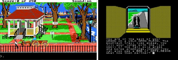 Figure 4: Compared to contemporary action games, text adventures could offer detailed historical narratives and varied situations. Gold Rush! (1988) and Legend of the Apache Gold (1986).