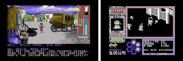 Figure 7: Western characters and scenery in the 1980s computer games. Law of the West and Gunfright.