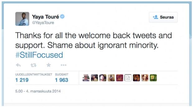 Kuva10. Yaya Touréen Twitter-viesti hänen kohtaamansa raisististen loukkausten jälkeen 4.11.2014.