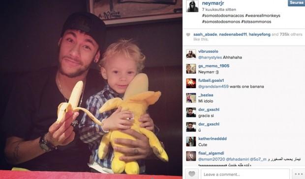 Kuva 1. Neymarin Instagramissa 27.4.2014 FC Barcelona–Villarreal-pelin jälkeen julkaisema valokuva.