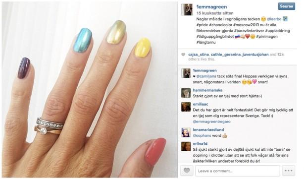 Kuva 2. Emma Green Tregaron valokuva sateenkaarikynsistä Instagramissa 14.8.2013.
