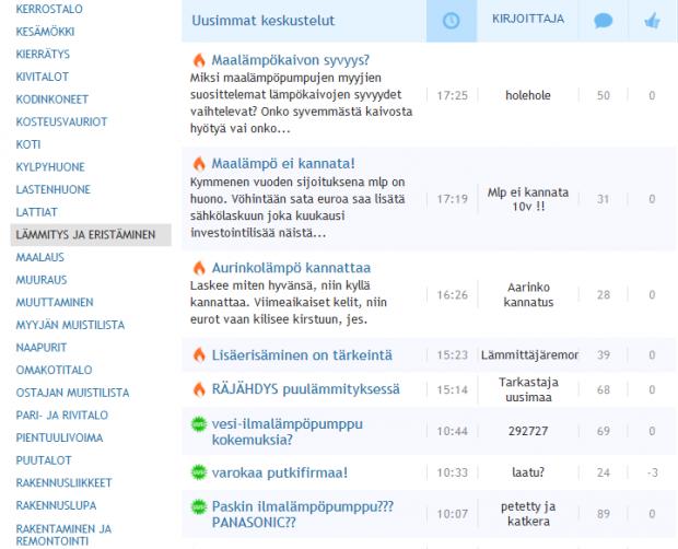 Kuva 2. Viestiketjuja Suomi24.fi-keskustelupalstalla.