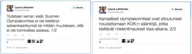 Kuva 3. Kuvakollaasi Suomen Olympiakomiotean tiedottajana toimineen Laura Lehtosen Twitter-tilin viesteistä 21.8.2013.