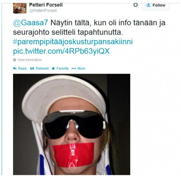 Kuva 6. MIFK-pelaaja Petteri Forsellin twiitti seurajohdon pelaajille pitämän tiedotustilaisuuden jälkeen 25.4.2014.