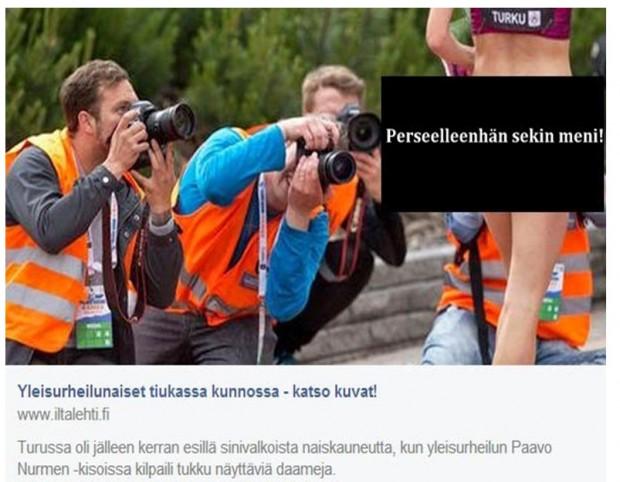 """Kuva9. Kuvakaappaus Noora Toivon blogista – alkuperäinen kuva ilman """"sensuuria"""" Iltalehdestä 25.6.2014 varustettuna kuvatekstillä: """"Estejuoksija Sandra Eriksson oli kuvaajien tähtäimessä""""."""