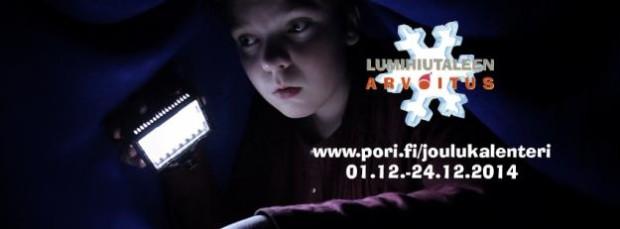 Kuva 1. Lumihiutaleen arvoitus -joulukalenterin kuvitusta Porin kaupungin sivustolla.