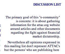 Kuva 4. ATTAC, 2000: keskustelulista.