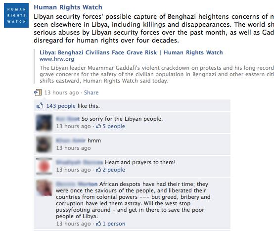 Kuva 6. Human Rights Watch Facebookissa 2011.