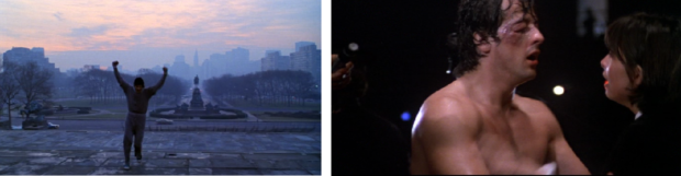Kuva 1. Rocky tuulettaa voittoisasti treeninsä lopussa (vasen kuva). Rocky häviää ottelunsa, mutta hän voi silti pitää itseään voittajana (oikea kuva). Harjoittelun aikana ja mestaruusottelun lopussa soiva musiikki vahvistavat tätä voittoisaa tarinaa.