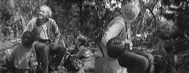 Kuva 1. Isoisä ja lapset luonnon keskellä elokuvassa Teksasilaisen paluu (Return of the Texan, 1952).