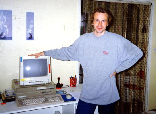 Tomi Jaskari (chairman of the Finnish Amiga Users Group) in front of BBS Amiga Zone (June 1993).