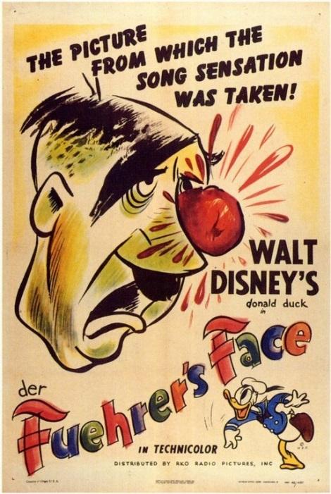 Kuva 5. Disney-yhtiöiden Der Fuehrer's Face oli tunnetuin ja menestynein Hitler-parodia toisen maailmansodan ajalta. © Walt Disney Productions.