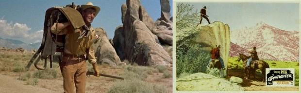 Kuva 7. Kalifornian Alabama Hills western-näyttämönä Budd Boetticherin elokuvassa Pettämätön pistooli (The Tall T, 1957) ja Henry Kingin elokuvassa Ase kädessä (The Gunfighter, 1950).