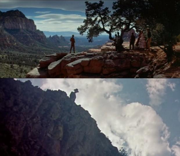 Kuva 8. Kuilun partaalla elokuvissa Erämaan laki (The Last Wagon, 1956) ja Hirsipuu (The Hanging Tree, 1959).