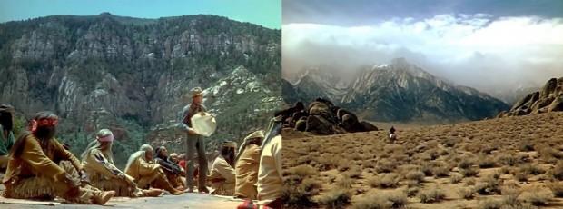 Kuva 2. Kaksi maisemaa elokuvasta Katkaistu nuoli (Broken Arrow, 1950): Jeffords näyttää apassipäälliköille karttaa heidän maastaan (vas.), oikealla Jeffords ratsastaa kohti kaukaisuutta.