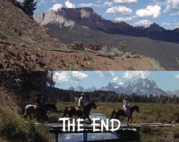 Kuva 4. Ensimmäinen ja viimeinen kohtaus elokuvassa Peloton mies (Jubal, 1956).