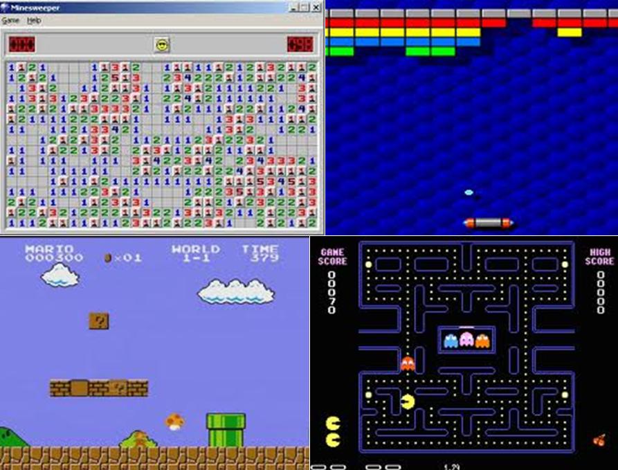 Kuva 2: Videokaappaukset Miinaharavasta, Arkanoidista, Super Mario Brosta ja Pac-Manista.