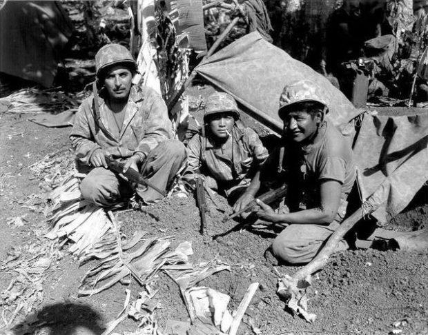 Image 1. Navajo code talkers in Saipan, June 1944. Public Domain photo.