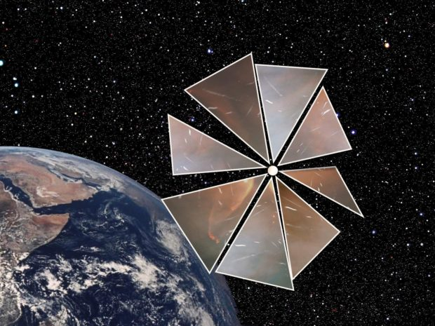 Image 5. Model of Cosmos 1 type solar sail. Source: Wikipedia.