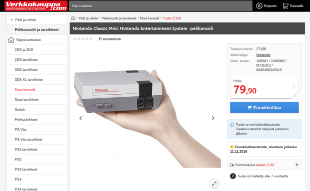 Image 7. Nintendo Classic Mini in Verkkokauppa.com online store. Screen capture by Jaakko Suominen, 6 November 2016.