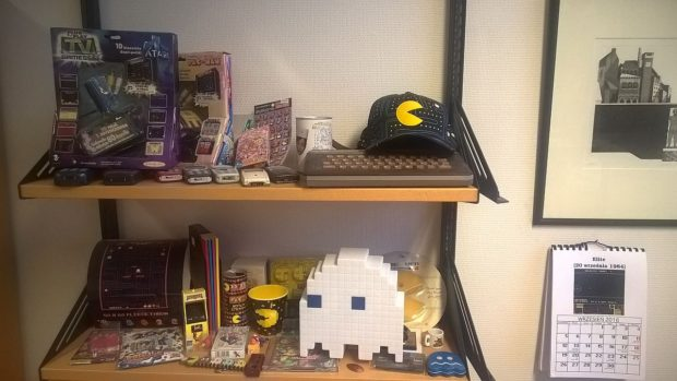 Image 8. Jaakko Suominen's collection of Pac-Man memorabilia, other game related products, and old computers and mobile phones. Photo by Jaakko Suominen, 28 October 2016.