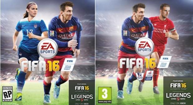 Kuva 4. USA:ssa julkaistussa versiossa EA Sportsin FIFA16-pelin kansikuvaan on päässyt yhdysvaltalaishyökkääjä Alex Morgan (vasemmalla). Englannissa ja Pohjoismaissa Alex Morgan on korvattu Jordan Hendersonilla (oikealla).