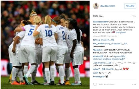 Kuva 5. David Beckham julkaisi Instagramissa kuvan, jonka välityksellä hän ilmaisi ylpeytensä Englannin naisten jalkapallomaajoukkueen menestyksestä kesän 2015 MM-kisoissa.
