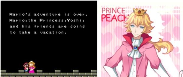 Kuva 1. Super Mario -peleissä pelaaja tunnetusti taistelee tiensä kenttien läpi pelastaakseen aina uudestaan pulaan joutuneen Princess Peachin (vasemmalla). Jos prinsessa muuttuisikin prinssiksi (oikealla), olisi kahden hahmon välinen kemia aivan erilainen.