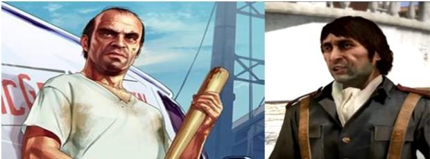 Kuva 4. Trevor Phillips (Grand Theft Auto V, vasemmalla) ja Vincente De Santa (Red Dead Redemption, oikealla) ovat esimerkkejä siitä, miten mielenvikaisuus ja väkivaltaisuus yhdistetään peleissä usein heteronormista poikkeamiseen.