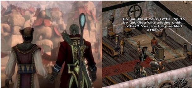 Kuva 5. Fable-pelisarjassa (vasemmalla) on mahdollisuus sukupuolineutraaliin avioliittoon. Myös pelissä Fallout 2 (oikealla) voi solmia sukupuolineutraalin avioliiton, vaikkei se tosielämässä pelin ilmestymisvuonna 1998 ollut mahdollista esimerkiksi pelin kotimaassa, Yhdysvalloissa.