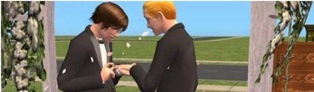 Kuva 6. The Sims -pelisarjassa suhteet saman sukupuolen edustaja kanssa ovat olleet mahdollisia pelisarjan ensimmäisestä osasta lähtien, ja uusimmissa osissa myös avioliitto on mahdollinen.