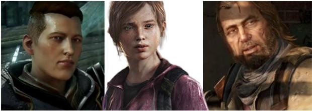 Kuva 7. Transsukupuolinen hahmo Krem (vasemmalla) on hyvä esimerkki siitä, miten monipuolista LGBT-sisältöä Dragon Age: Inquisition -pelissä on. Last of Us -pelissä esiintyvät Ellie (keskellä) ja Bill (oikealla) ovat molemmat LGBT-hahmoja.