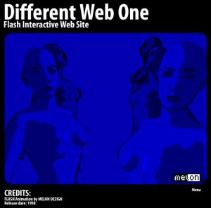 Kuva 1. Different Web One (Melon Dezign 1998). Esirenderöityä demoestetiikkaa vektorimuodossa.