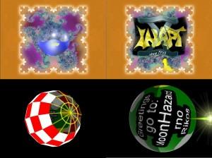 """Kuva 6: Diip (Inapt 2003). Ylävasemmalla motiontweenillä animoituja grafiikkaobjekteja monistettuna kolmiulotteiseksi siniplasmaksi"""". Alavasemmalla vektoripiirto-ominaisuudet käytössä. Alaoikealla """"imageslice""""-tekniikkaa pyöreillä maskeilla pallovääristymän luomiseksi. Yläoikealla imageslice yhdistettynä kahden sisäkkäisen grafiikkaobjektin avulla toteutettuun vääntämiseen."""