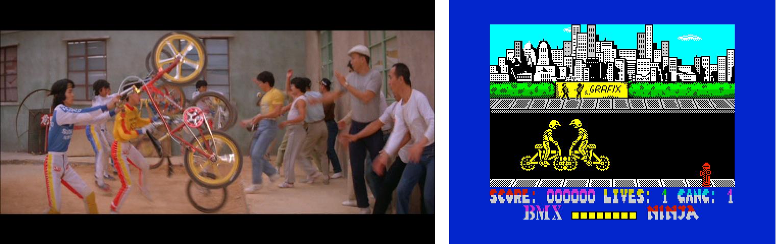 Kuva 1. Huumoripeleissäkään ei nähty niin erikoista ideaa, etteikö sitä olisi jo aiemmin kokeiltu Hong Kong -elokuvissa. Lady is the Boss (1983) ja BMX Ninja (1988).