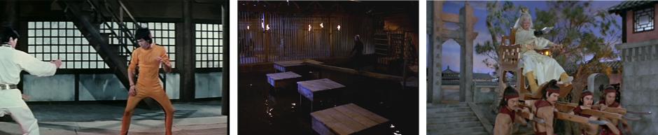 Kuva 10. Vasemmalla: Bruce Lee kohtaa vastustajia kerros kerrokselta elokuvassa Panoksena kuolema. Keskellä: The Octagon – hiljaiset tappajat -elokuvan tasohyppelymaisemaa. Oikealla: Shaolin Prince ja monivaiheinen loppuvastus.