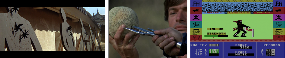 Kuva 2. Harjoitusleirit kuuluivat länsituotteiden ninjakäsitykseen. You Only Live Twice (1967), The Octagon (1980) ja Ninja Master (1986).