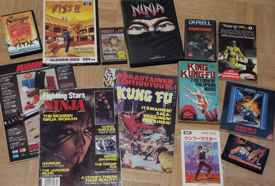 Kuva 3. Karate-, kungfu- ja ninja-aiheisia julkaisuja ja pelilaatikoita 1970- ja 1980-luvuilta.