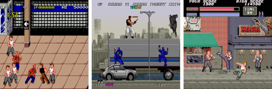 Kuva 4. Katutaistelua ja urbaaneja ympäristöjä peleissä Renegade (1986), Bad Dudes vs. Dragonninja (1988) ja Vigilante (1988).