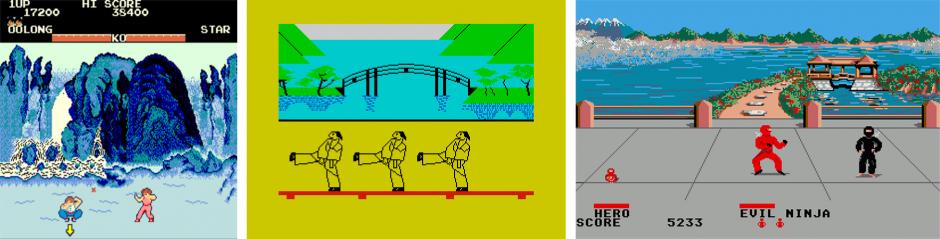 Kuva 6. Postikorttimaisemia peleistä Yie Ar Kung-Fu, Kung Fu ja Ninja.