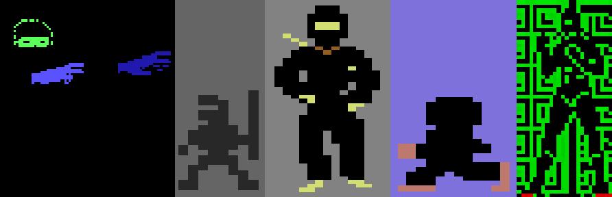 Kuva 7. Länsimaista ninjakuvastoa peleistä Attack of the Phantom Karate Devils, Bruce Lee, Ninja, Enter the Ninja (1987) sekä Saboteur II (1987).
