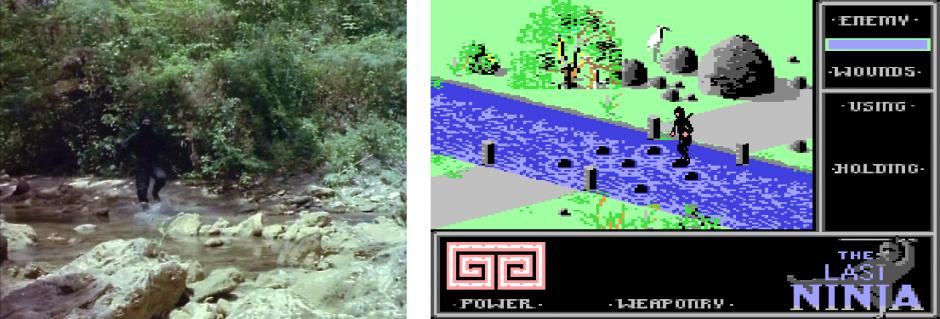 Kuva 8. Joen ylitystä Enter the Ninja -elokuvassa ja The Last Ninja -pelissä.