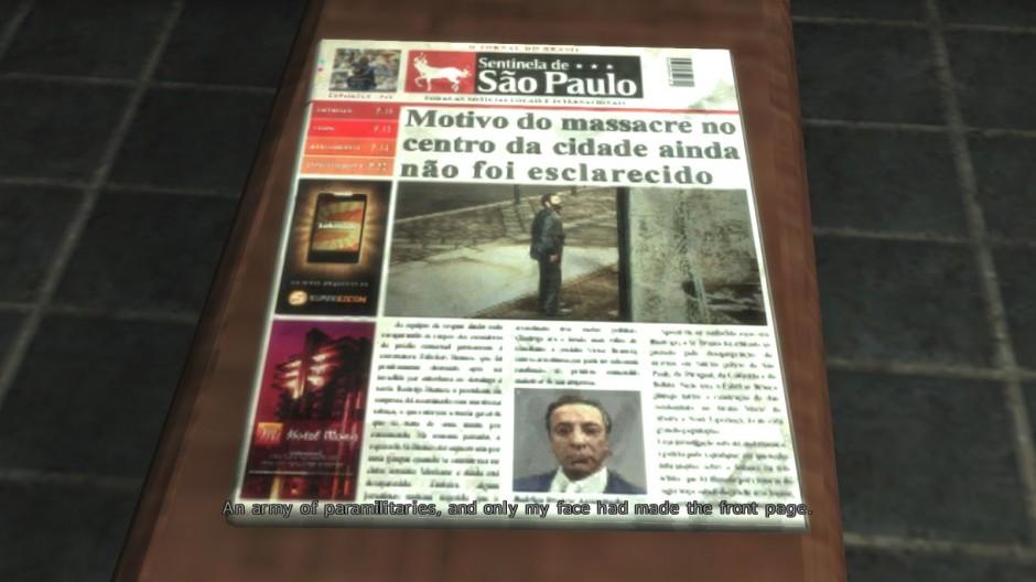 Kuva 3. Eksplisiittinen kamera kuvaamassa sanomalehteä (Max Payne 3).